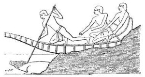 First ruler of the Twelfth Dynasty Amenemhat I spearing a Nile crocodile from the prow of a boat.