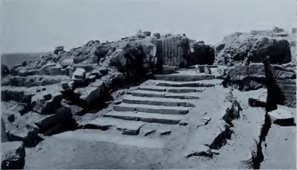 A photograph of the Sun Temple ruins at Meroë taken during the John Garstang excavation of 1909-10.