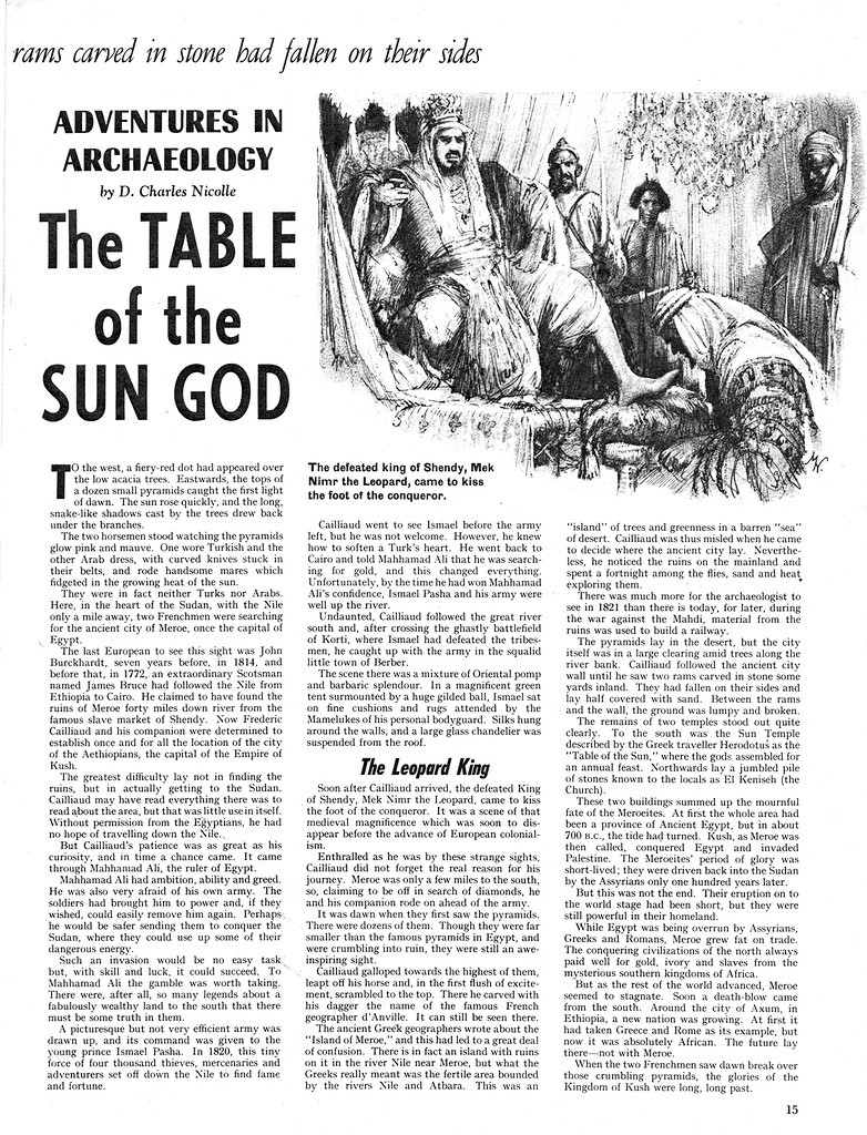 The Table of the Sun God is an article on the Frédéric Cailliaud expedition to the ancient city of Meroë that appeared a 1968 issue of the British educational magazine for children Look and Learn [11]. Image licensed for educational use (LL0362-015-00).