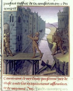 Horatius Cocles defending the Wooden Bridge by the 15th century French manuscript illuminator Maître du Boccace de Munich.