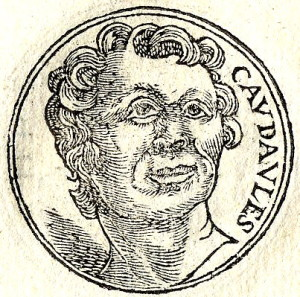 A 16th century portrait of King Candaules of Lydia, who reigned from 735 BC to 718 BC according to tradition, from Guillaume Rouillé's iconography book entitled Promptuarii Iconum Insigniorum.