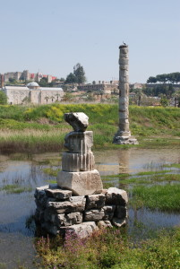 The ruins of the third Temple of Artemis in Ephesus outside Selçuk, Turkey. The first temple was destroyed in a flood, while the second was burned down by Herostratus. This image is by simonjenkins' photos and is distributed under a CC-BY-SA 2.0 license.