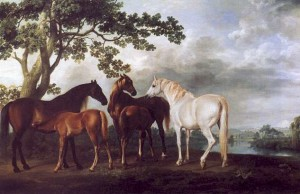 A realistic depiction of some horses set in a country landscape by the 18th century English painter George Stubbs. The Painting is entitled Mares and Foals in a Landscape and dates from 1763-68.