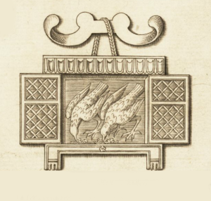 The sacred chickens of Rome in their coop from an engraving of military insignia and instruments of war by Nicolas Beatrizet. The full engraving is found at Speculum Romanae Magnificentiae, [Image no. B293], Special Collections Research Center, University of Chicago Library.